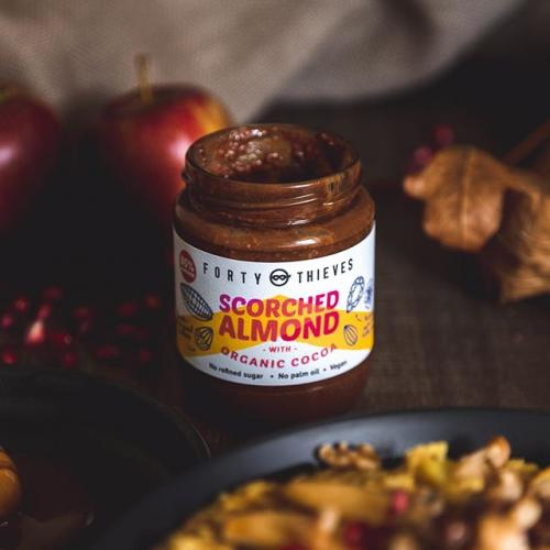 no refined sugar chocolate almond spread scorched almond jar with foodie