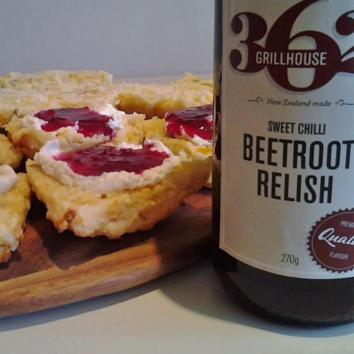 sweet beet relish with kumara scones 2