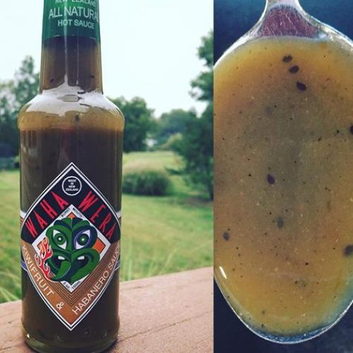 award winning habanero and kiwi fruit hot sauce